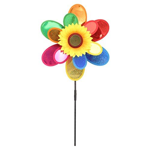 Yunso Sonnenblumen-Windrad für Zuhause/Garten/Hof, zweilagig, Dekoration, Spielzeug für Kinder
