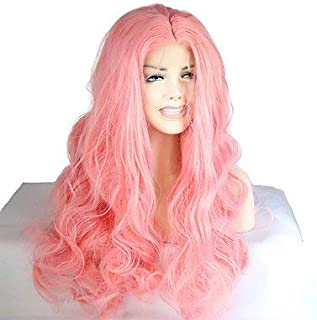 Women's Synthetic Lace Front Wig Medium Long Wavy Pink Natural Wigs Costume Wig