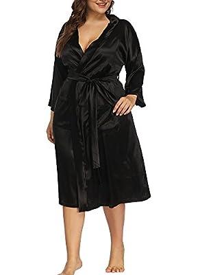 Allegrace Women's Plus Size Sexy Wrap Front Satin Kimono Robes Sleepwear Pocket Long Pajamas