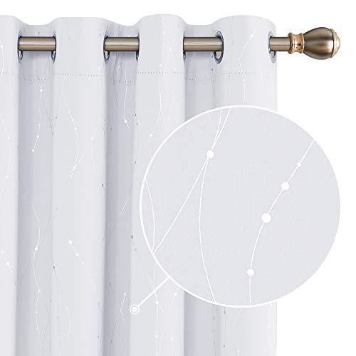 Deconovo Cortina Opaca para Habitación Matrimonio de Línas Plateadas Estilo Moderno Elegante con Ojales 2 Piezas 168x183cm Gris Blanco