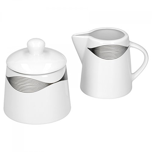 VAN WELL Café Complément Ensemble pot à lait & sucrier Matrix Porcelaine Blanc avec Décor