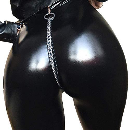 ZHANGSL Frauen Sexy Shiny Latex Wet Look voller Länge Leggings mit hoher Taille Lederimitat enganliegende Abnehmen grundiert Hosen,groß