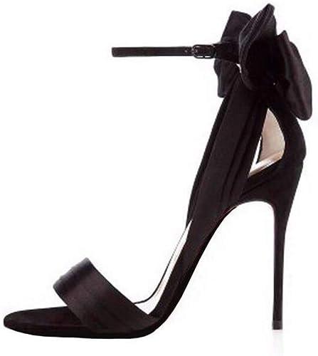 GHFJDO Chaussures à à à Bout Ouvert pour Femmes, Nouvelles Sandales à Lacets à la Cheville en Dentelle et à Lacets,noir,35EU 8d5