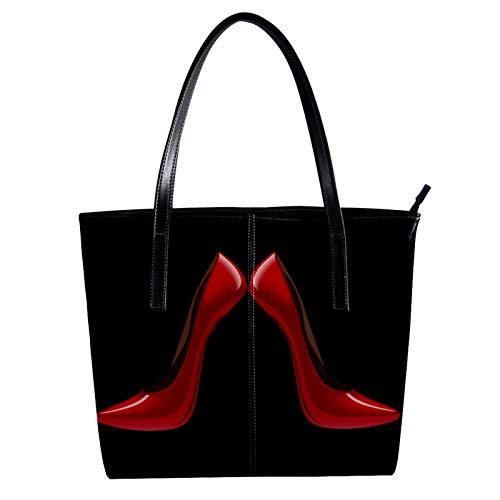 Indimization Bolsos de Mujer Bolso Bandolera Bolsos Tote Bag Bolsos Shopper Bolsos Mujer Bolso de Mano Bolsas Para Dama Bolso tote de mujer de estilo simple Rojo tacones altos sexy 40 x 29 x 9cm