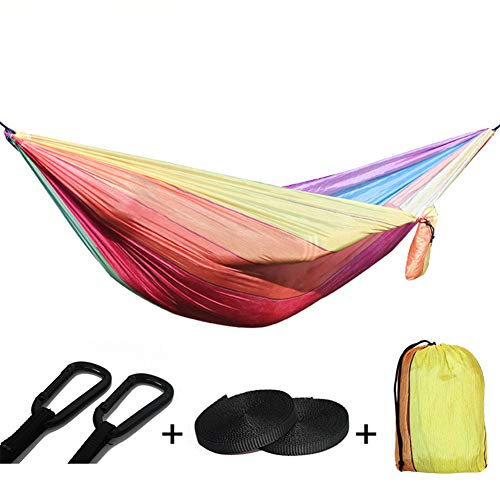 Color Stripes Camping Hangmat, Lichtgewicht Nylon Portable 2-4 Personen Double Outder Rocking Bed, Max Load 300Kg Sterkste Parachute Swing Backpacken Garden Hiking Trave