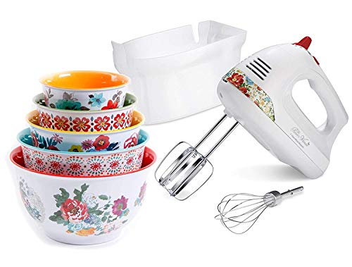 The Pioneer Woman Hand Mixer with Vintage Floral Snap-On Case with...