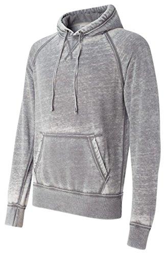 Vintage Distressed Pullover Hooded Sweatshirt- Dark Smoke Gray