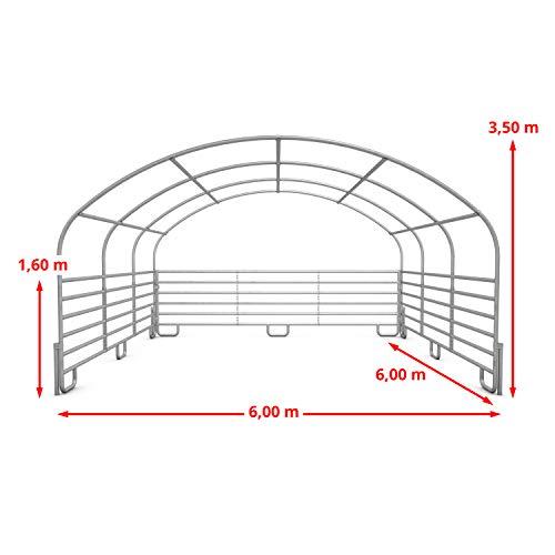 TOOLPORT Robustes Weidezelt 6x6 m feuersicher 720 g/m² PVC Plane Unterstand für Pferde Offenstall Stall, für Betonboden, grün - 4