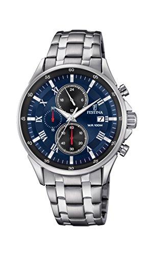Festina Herren Chronograph Quarz Uhr mit Edelstahl Armband F6853/2