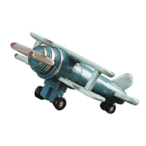 Veemoon Resina Avión Ornamento Retro de Dos Pisos Hundido Estrellado Avión Estatuilla Estatua de Escritorio Centro de Mesa para Navidad en Casa Boda Pecera Decoración