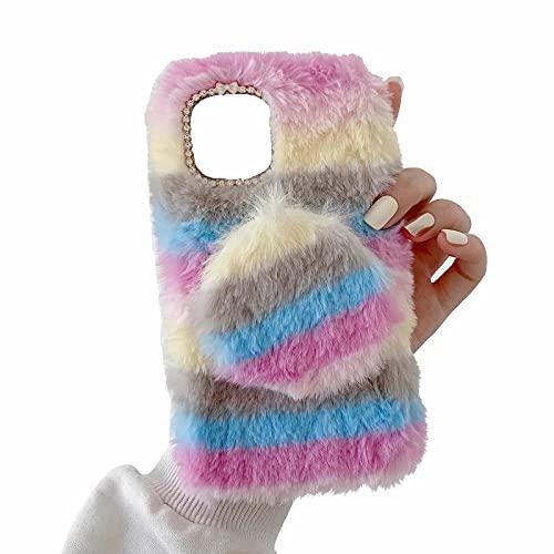 Miagon Bunt Plüsch Hülle für Samsung Galaxy S10,Handyhülle Mädchen Flauschige Schutzhülle Silikon Cover Faux Pelz Case mit Abnehmbar Spiegel