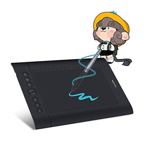 HUION H610Pro V2 Grafiktablett, batterieloser Stift,Tilt-Funktion Neigungsfunktion und 8192 Stufen Stiftdrucksensibilität, mit 8 Drucktasten Grafiktablett mit Display grafiktablett für pc