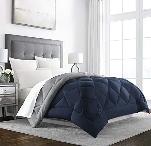 Sleep Restoration Down Alternative Comforter - Reversible - All-Season Hotel Quality Luxury Hypoallergenic Comforter -Full/Queen - Navy/Sleet