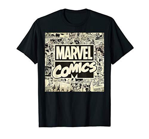 Marvel Classic Retro Comic Newspaper Print Graphic T-Shirt