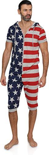 Men's American Flag Hooded Union Suit USA Pajama Costume (Small-Medium, Grey USA Flag)