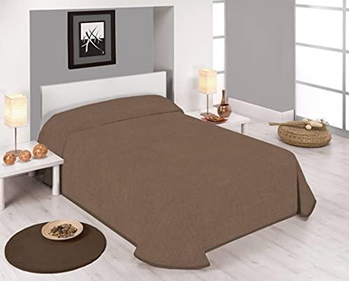 Sabanalia - Bedruckte Tagesdecke Stone (in verschiedenen Größen & Farben erhältlich), für Betten von 90 – 180 x 280 cm, Kakao