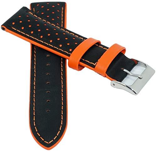 Leder Uhrenarmband Rallye Gelocht mit Naht 18-22mm Armband Uhrband Uhr Band schwarz-orange 22mm