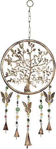 EVERBUY Tree of Life Hanging Windchime - Mobile with Bells, Beads and Butterflies - Tree of Life Ornament Wind Chimes for House