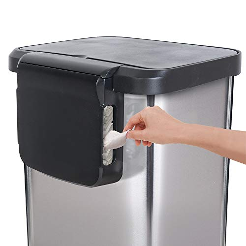 Glad Stainless Steel Step Trash Can with Clorox Odor Protection   Large Metal Kitchen Garbage Bin with Soft Close Lid, Foot Pedal and Waste Bag Roll Holder, 20 Gallon