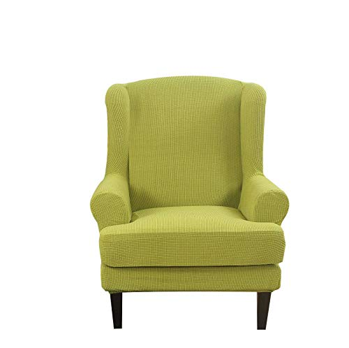 HUNOL Stretch Wingback Chair Slipcover, Chair Slipcover for Wingback Chairs 2 Pieces Wing Chair Cover Jacquard Armchair Cover with Elastic Bottom Furniture Protector-Green-Wing Chair