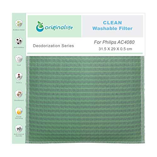 Originallife Filtro purificador de aire Clean para Philips AC4080, lavable, reutilizable, antiolores y antialérgenos