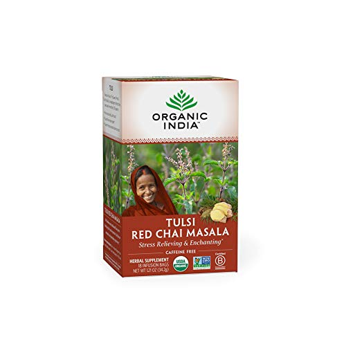 Organic India Tulsi Red Chai Masala Herbal Tea - Stress Relieving & Enlivening, Immune Support, Vegan, USDA Certified Organic, Black Tea, Antioxidant, Caffeinated - 18 Infusion Bags, 1 Pack