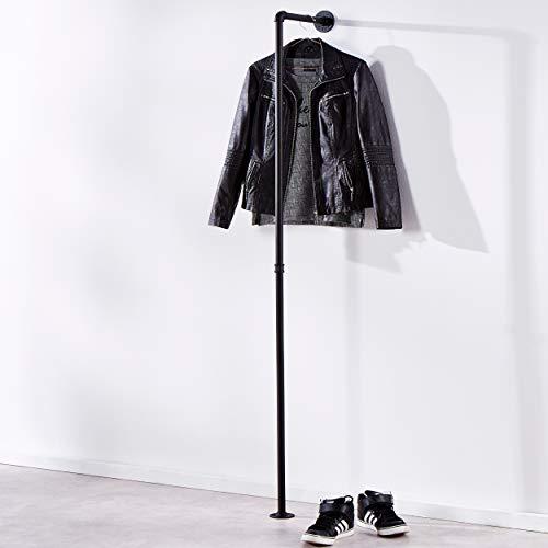 pamo Kleiderstange Fred im Vintage Industrial Design – Kleine Gaderobe für den Flur in matt schwarz aus Stahl Wasserrohre
