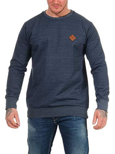 mazine Herren Sweatshirt Seaton Striped Sweater mit Rundhals-Ausschnitt Pullover Blau 2XL
