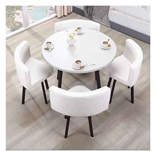 Conjunto de Mesa de Comedor para Cocina o decoraci Negociación Silla Mesa y la combinación Simple de recepción Moderna Tabla pequeñas y Redondas Oficina Sala de reuniones (Color : White)