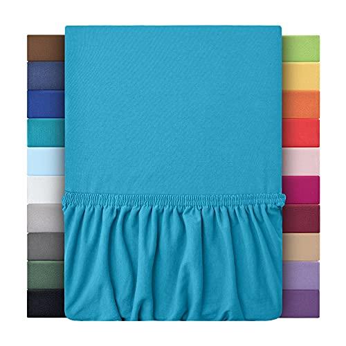 leevitex® Kinder Jersey Spannbettlaken, Spannbetttuch 100% Baumwolle in vielen Größen und Farben MARKENQUALITÄT ÖKOTEX Standard 100 | 70x140 cm - Türkis