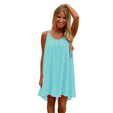 Women Summer Dress,Todaies Women Spaghetti Strap Back Dress Howllow Out Summer Dress Chiffon Beach Short Dress 2018 (L, Blue)