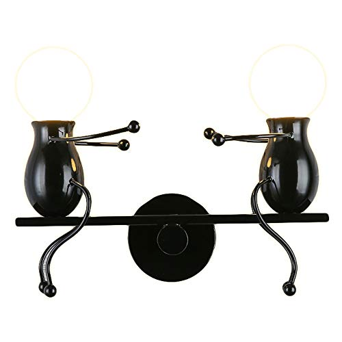 WJAROG TV Background Wall Lamp Living Room Simple Modern Bedside Retro Lamps Creative Creative Doll Seesaw Iron E27 Wall Lamp (Size : Black)