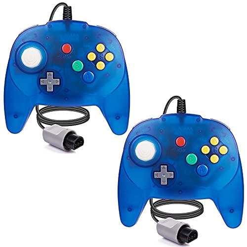 [Nueva versión] 2 paquetes para controlador N64, mando de juego para N64 – Plug & Play (versión USB no PC) (Joystick del Japón), azul transparente