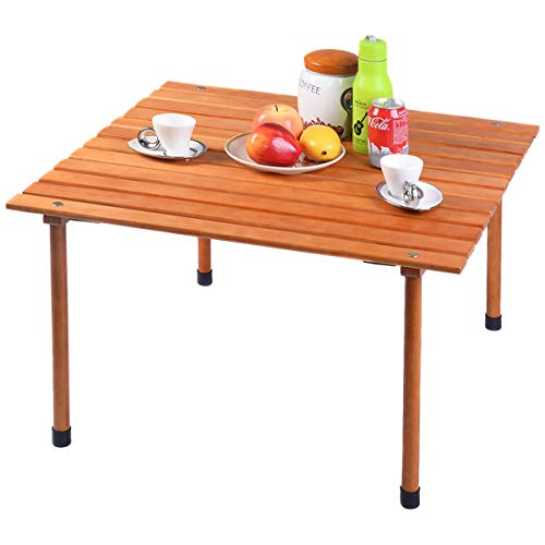 Costway Picnic Folding Table Wood Roll Up Outdoor Camping Beach Dining Use Low Portable Table with Carrying Bag