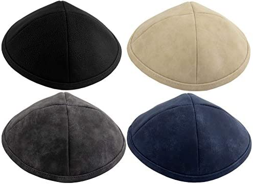 HolYudaica Pack of 4 Pcs Hq 19cm 4 Colors Leatherette Kippah Imitation Leather for Men Boys product image