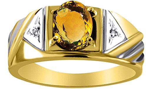 Plata de Ley diamante y anillo de citrino o chapado en oro amarillo