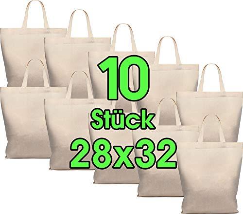 Lot de 10 sacs en coton 28 x 32 cm - Sac de rangement pour pharmacie - Sac de transport - Sac de transport - Sac cadeau - Certifié Öko-Tex - Sac en tissu non imprimé court pour peindre et imprimer
