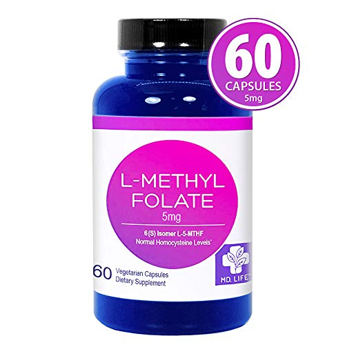 MD. Life L-Methylfolate 5mg – Active Folate 5-MTHF, Professional Strength Methyl Folate - Immune Support, Essential Amino Acids– Vegan Gluten-Free - 60 Capsules
