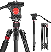 Neewer 2-in-1 Aluminum Alloy Camera Tripod Monopod 70.8 inches/180cm with 1/4 and 3/8 inch Screws Fluid Drag Pan Head and...