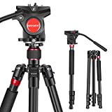 Neewer 2-in-1 Aluminum Alloy Camera Tripod Monopod 70.8inches/180cm with 1/4 and 3/8 inch Screws Fluid Drag Pan Head and Carry Bag for Nikon Canon DSLR Cameras Video Camcorders Load up to 26.5 pounds