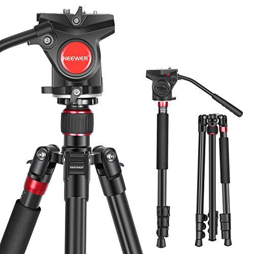 Neewer 2-in-1 Aluminium Kamerastativ Monopod 180cm mit 1/4 und 3/8Zoll Schrauben Flüssig Ziehen Schwenk Kopf Tragetasche für Nikon Canon DSLR Kamera Camcorder tragfähigkeit bis zu 26,5 Pfund