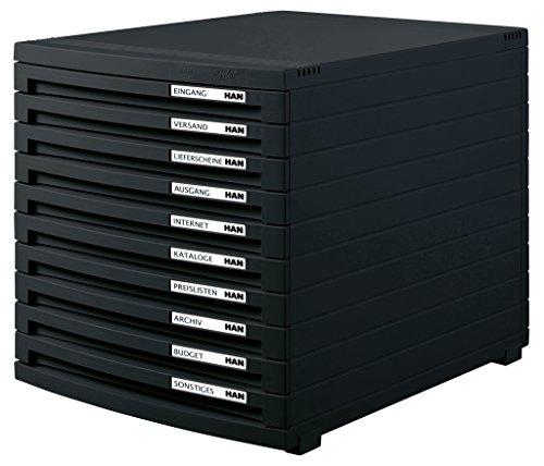 HAN Schubladenbox CONTUR – modernes und modular erweiterbares Schubladensystem, mit 10 geschlossenen Schubladen bis Format DIN B4, schwarz, 1510-13