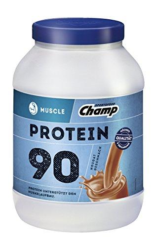 Champ Muscle Protein 90 Eiweißshake (780 g) – Protein Shake mit Nougat-Geschmack – Eiweißpulver mit 36 g Protein pro Portion – enthält Vitamine – ohne Aspartam