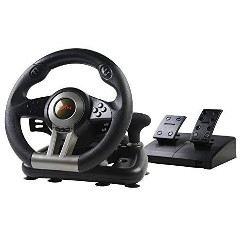 Game Racing Wheel PXN-V3, Einstellbares Gaming-Lenkrad mit Pedalen und Vibrations-Feedback ( Force Feedback,180° Lenkbereich,Schwarz)