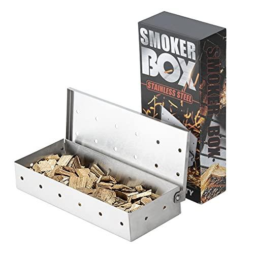 Kesntto BBQ Smoker Box, Grill Edelstahl Smokerbox, BBQ Smokerbox für Holzspäne, Smoker Grill Zubehör, Smoker Box für Gasgrill und Holzkohlegrills