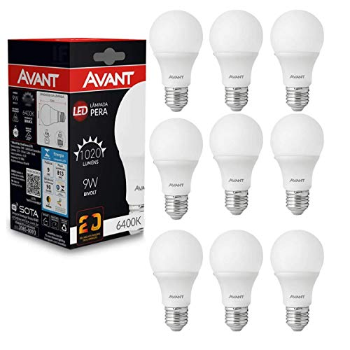 Kit 10 Lâmpada Bulbo Plástico 9W - Branco Frio - Avant
