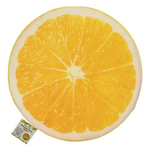 Out of the Blue 190286 - Rundes Sitzkissen Zitrone, Durchmesser ca. 37 cm, Stärke ca. 4 cm, 100 Prozent Polyester, ca. 148 g Füllgewicht