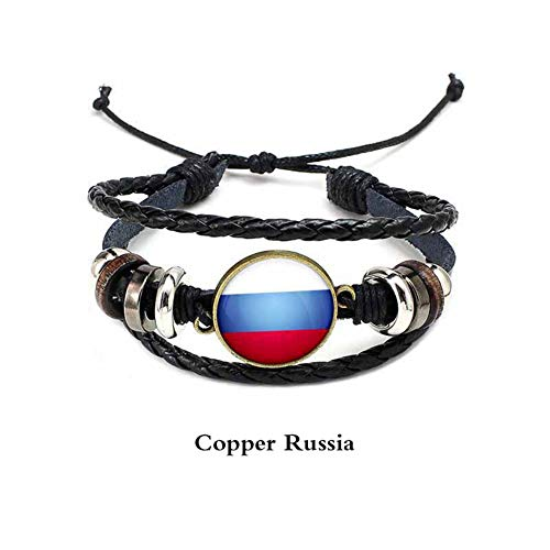 D&XQX Wereld Vlag punk Lederen Armband Handgeweven Lederen Touw Armband Mode Europese en Amerikaanse Mannen en Vrouwen Vlag Armband