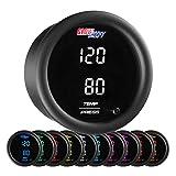 GlowShift 10 Color Digital Dual Temperature & Pressure Gauge Kit - for Boost, Oil Pressure...