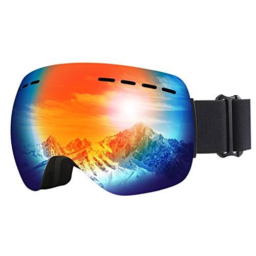 PELLOR Skibrille Snowboardbrille, Damen Herren Winddicht Austauschbare Sphärische Polarisiert Motorrad Skaten Skifahren Mit Sehstärke OTG UV-Schutz Anti-Fog